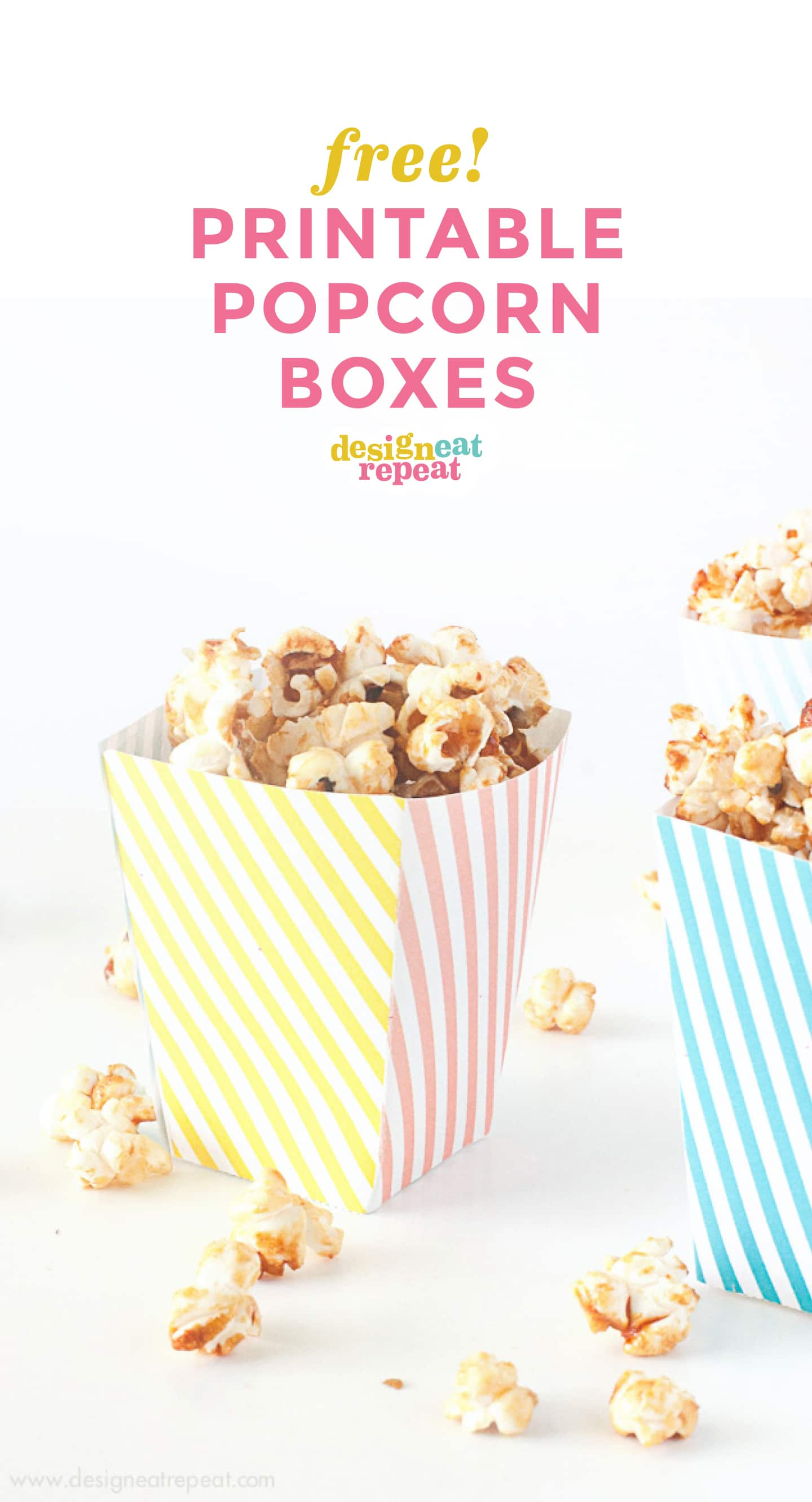 Pink, yellow, and blue striped free printable popcorn box template for birthday, circus party, baby shower.