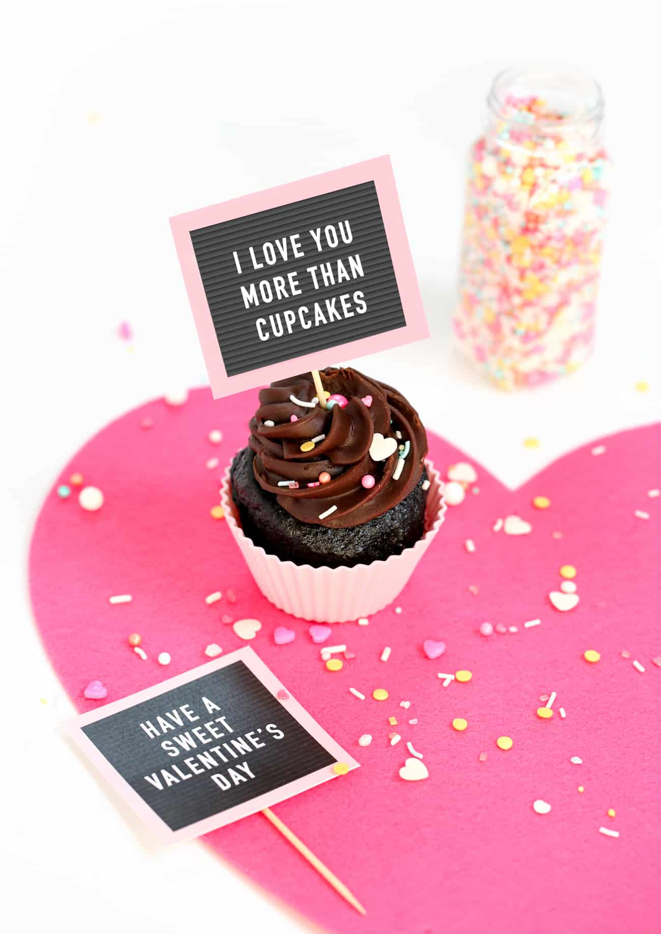 image about Printable Valentine Picture referred to as No cost Printable Valentine Cupcake Toppers - Mini Letterboards!