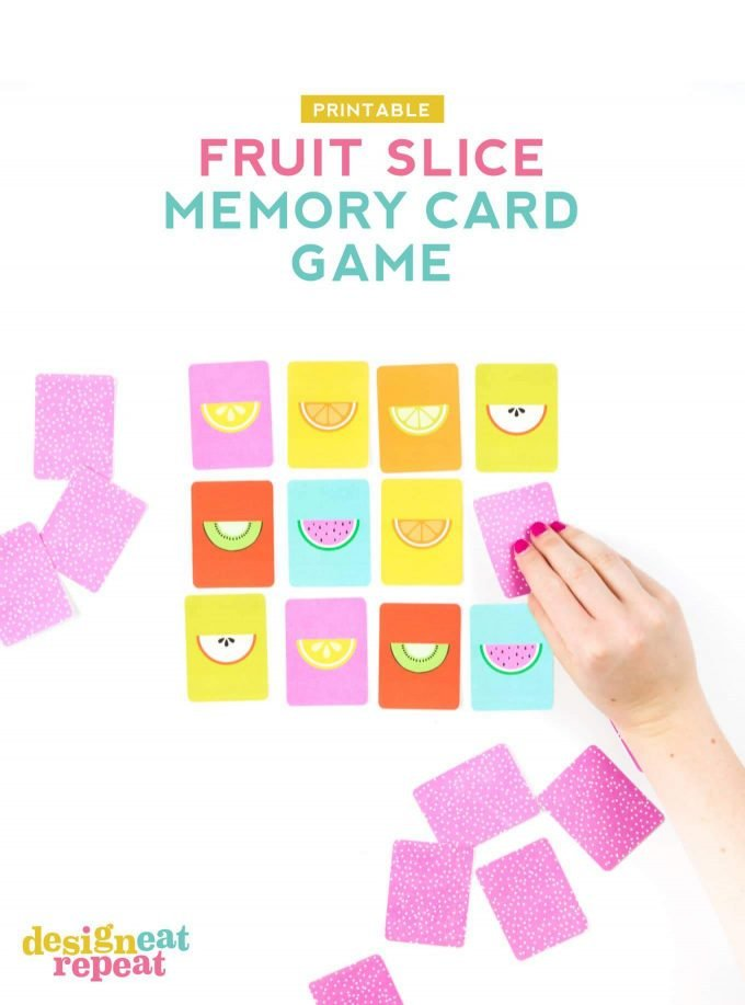 Hand flipping fruit slice memory game card
