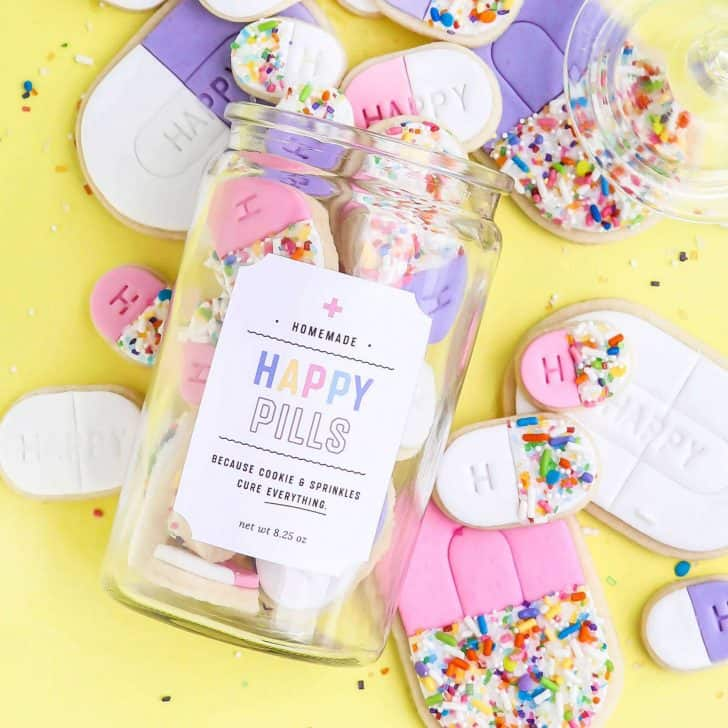 Happy Pill Printable Cookie Label
