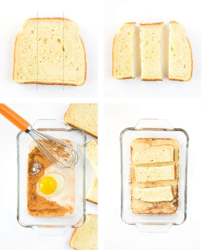 Step by step instructions to make french toast sticks. Shows how to cut bread, whisk egg mixture, and dip