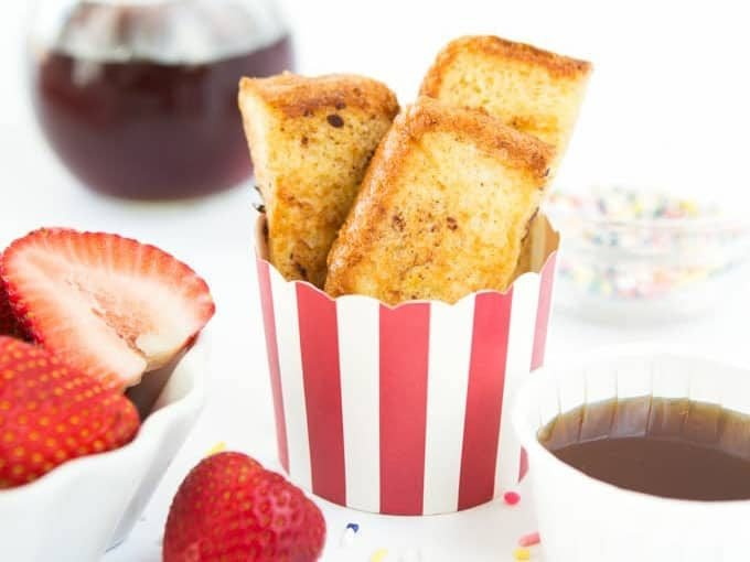 Cup of homemade french toast sticks