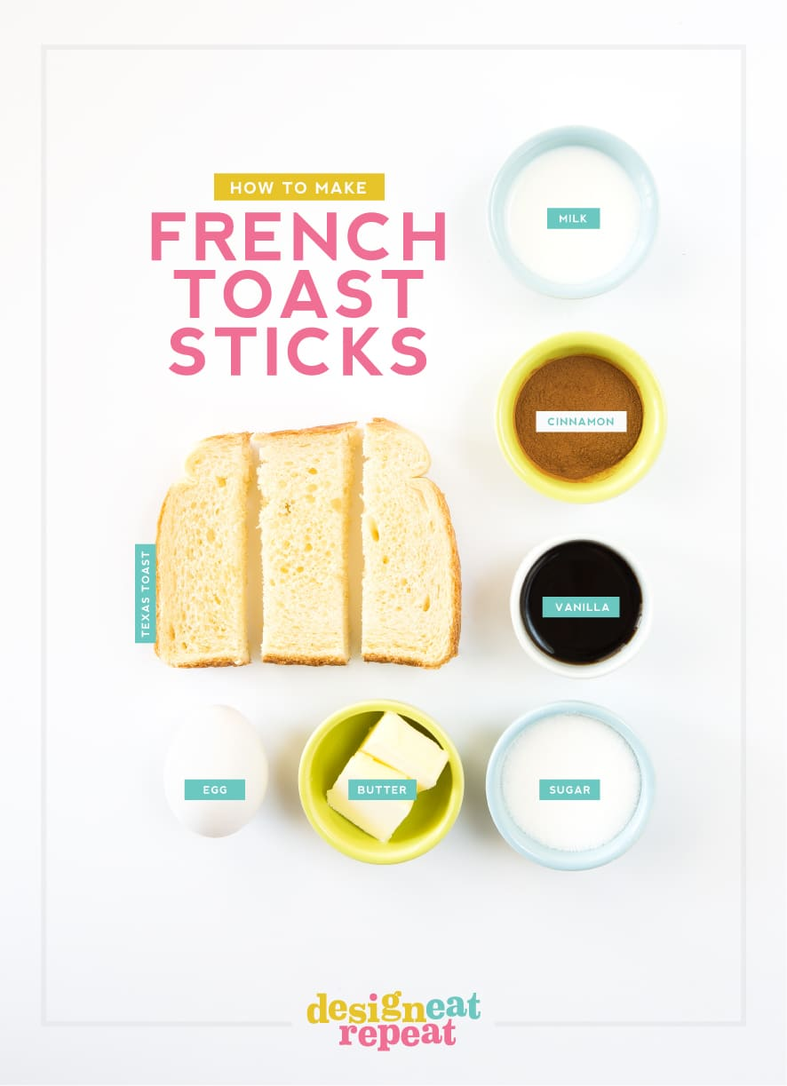 Ingredients to make homemade french toast sticks