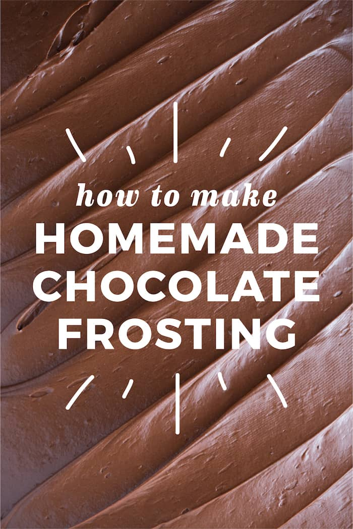 """Photo of chocolate frosting background with """"How to Make Homemade Chocolate Frosting"""" text on top."""