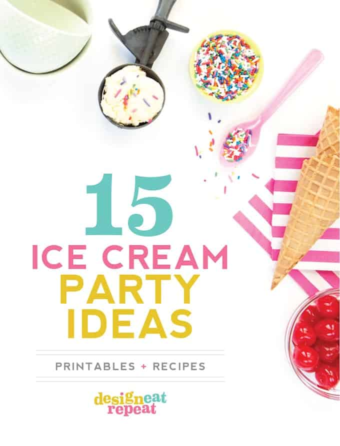 A roundup of 15 recipes, DIY ice cream topping ideas, and free ice cream printables!