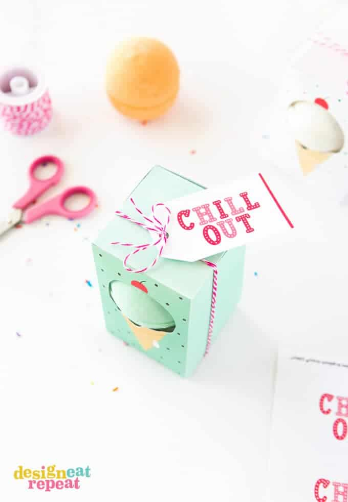 "Gift bath bombs in these adorable ice cream themed ""Chill Out"" gift boxes! Free to download at Design Eat Repeat!"