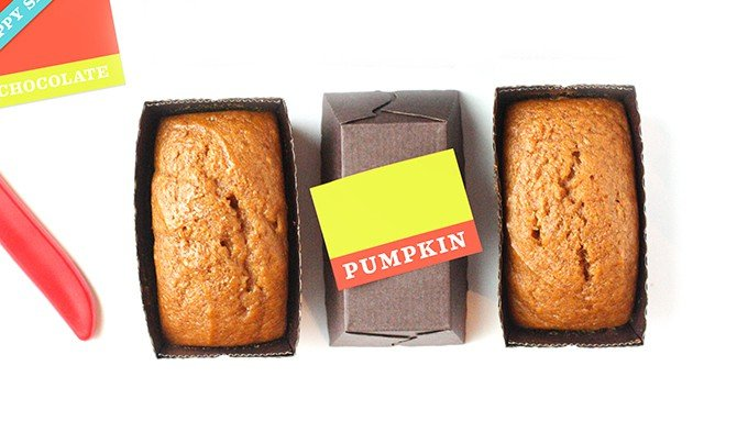Mini Pumpkin Bread Loafs in tiny disposable loaf pans with colorful printable gift tags.