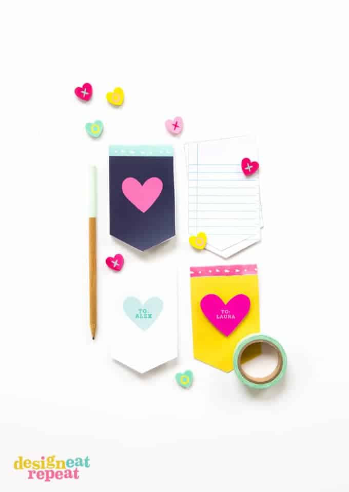 Ditch the candy this Valentine's Day and pass out these adorable mini notepads instead! Easy for kids to help print off and assemble!