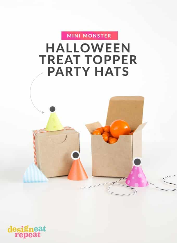 Freebie! Attach these printable monster party hats to treat boxes for fun Halloween party favors!