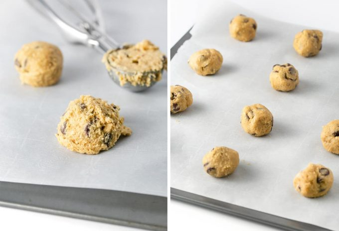 How to scoop chewy oatmeal chocolate chip cookies