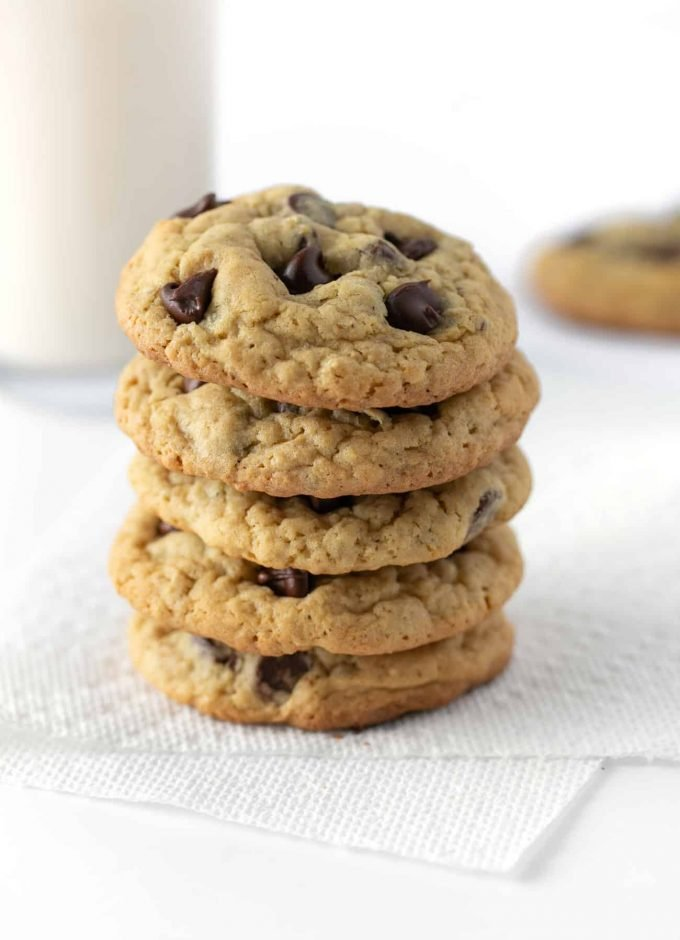 Stack of chewy oatmeal chocolate chip cookies