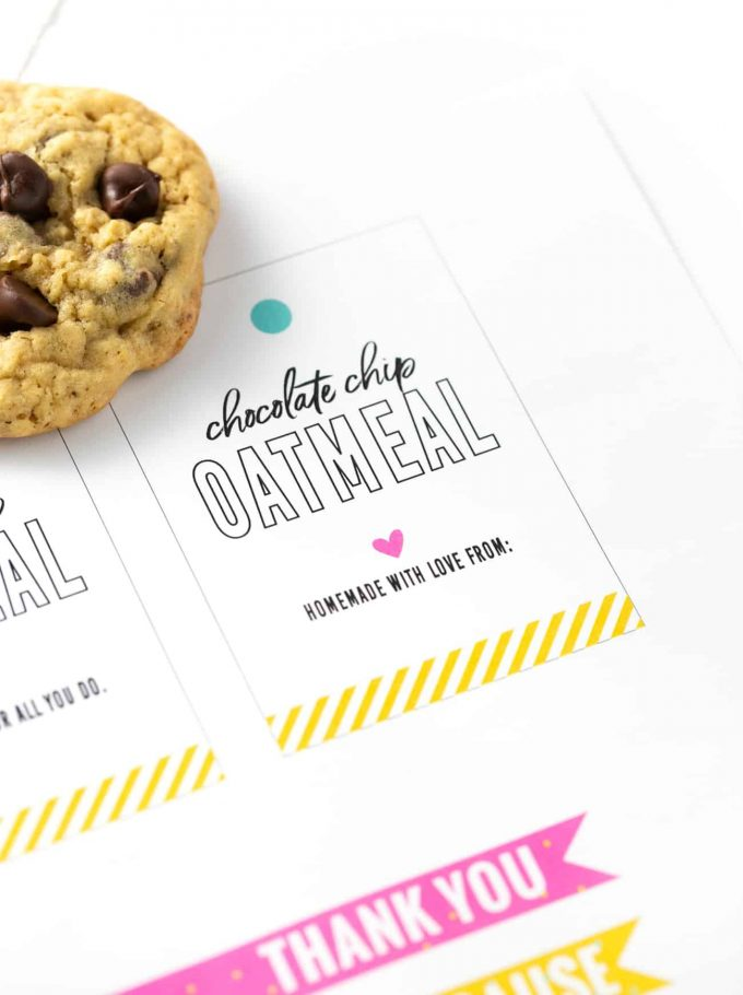Chocolate chip oatmeal cookie printable cookie gift tag