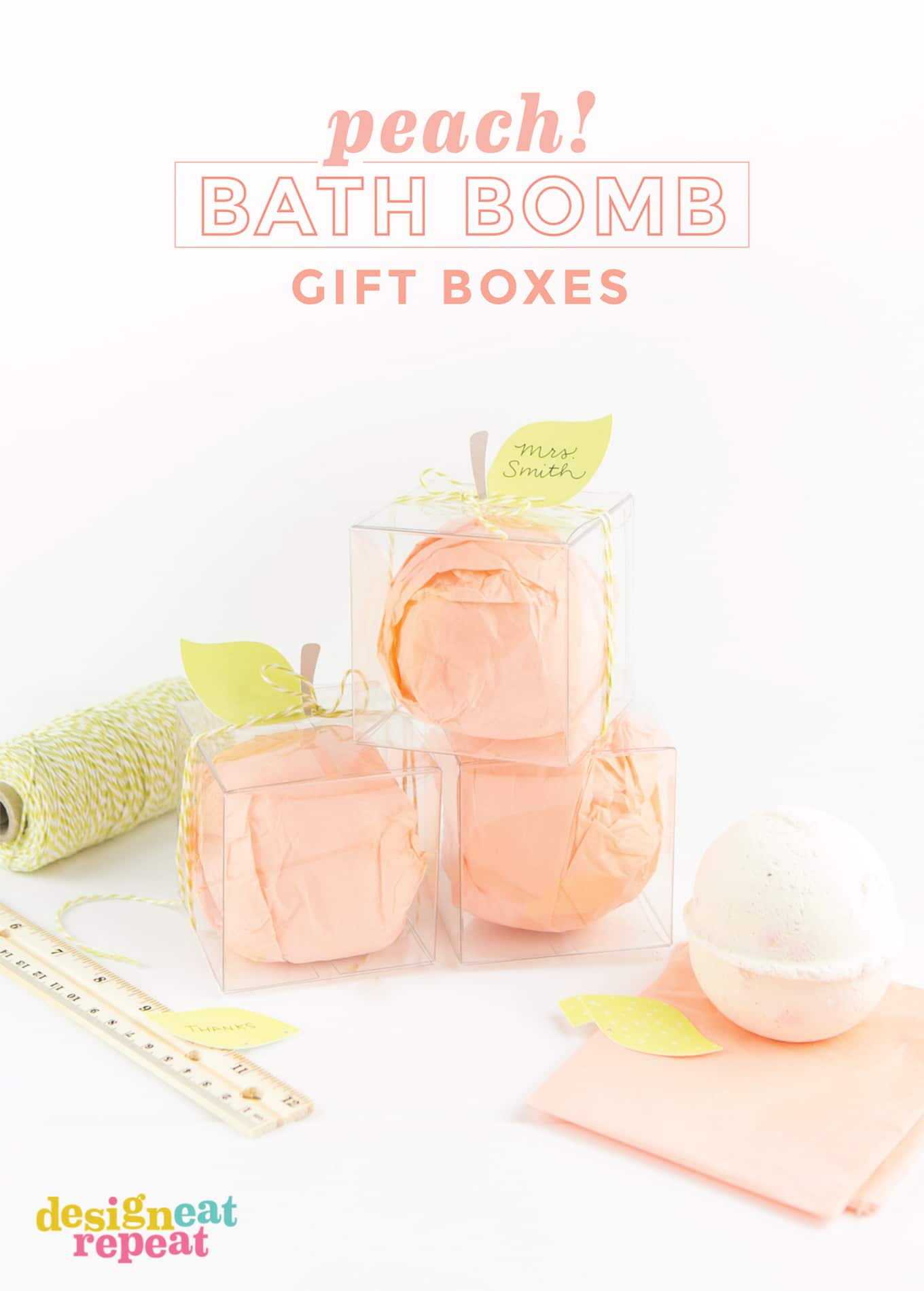 With back to school just around the corner, give the gift of relaxation with this peachy bath bomb teacher gift idea! Also great for thank you gifts, southern wedding party favors, or fruit party favors!