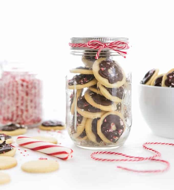 Peppermint wafer butter cookies in jar gift - a favorite Christmas cookie recipe