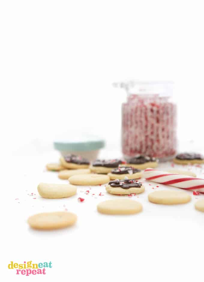 Peppermint butter wafers with crushed candy canes.