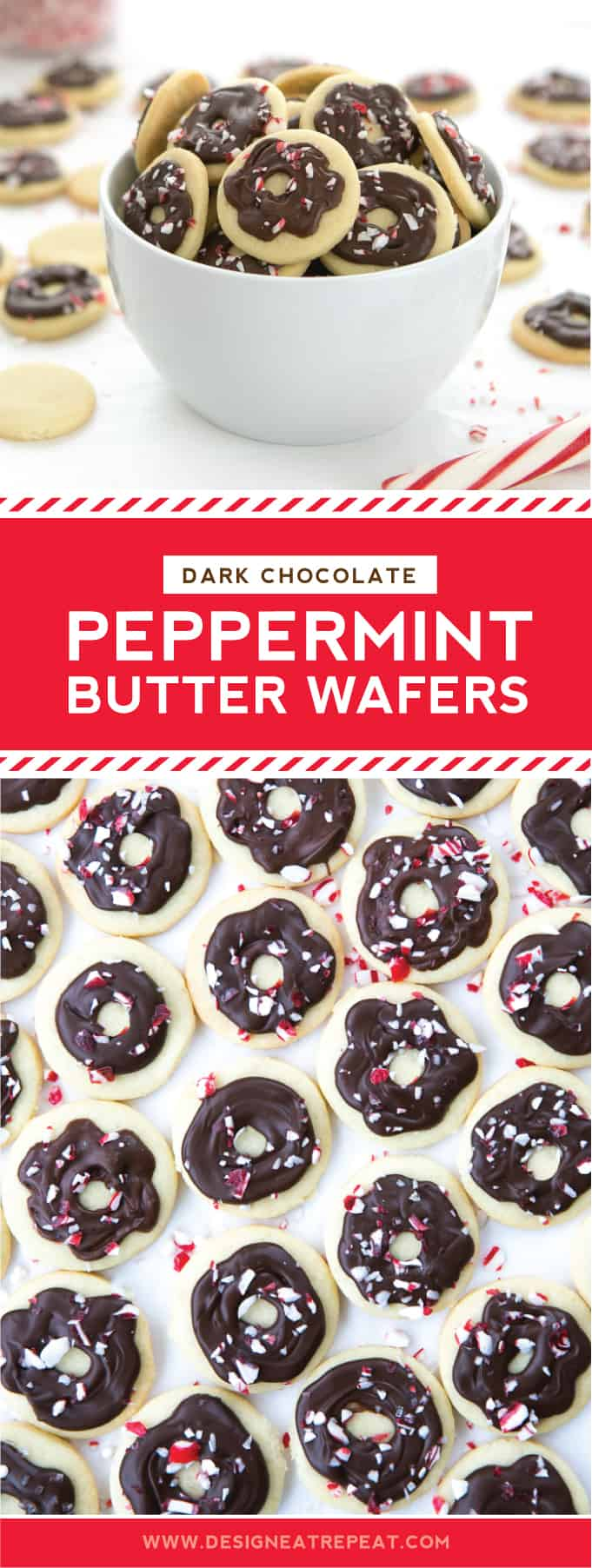 Whip up these mini dark chocolate peppermint butter wafers for a fun bite-sized holiday snack for the whole crew!