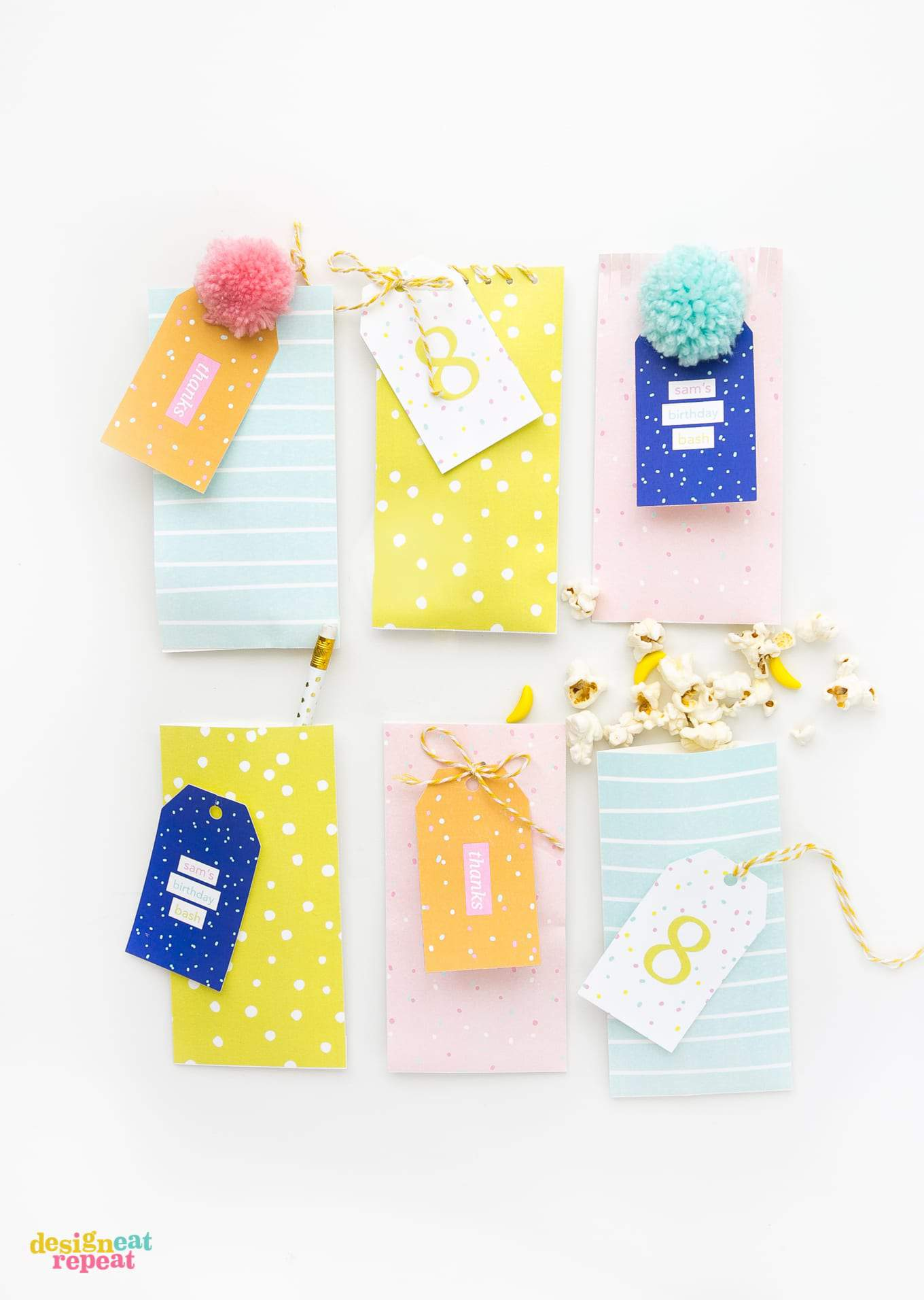 Download these printable party favor bags and fill with candy & trinkets for the perfect birthday party favor or envelope!