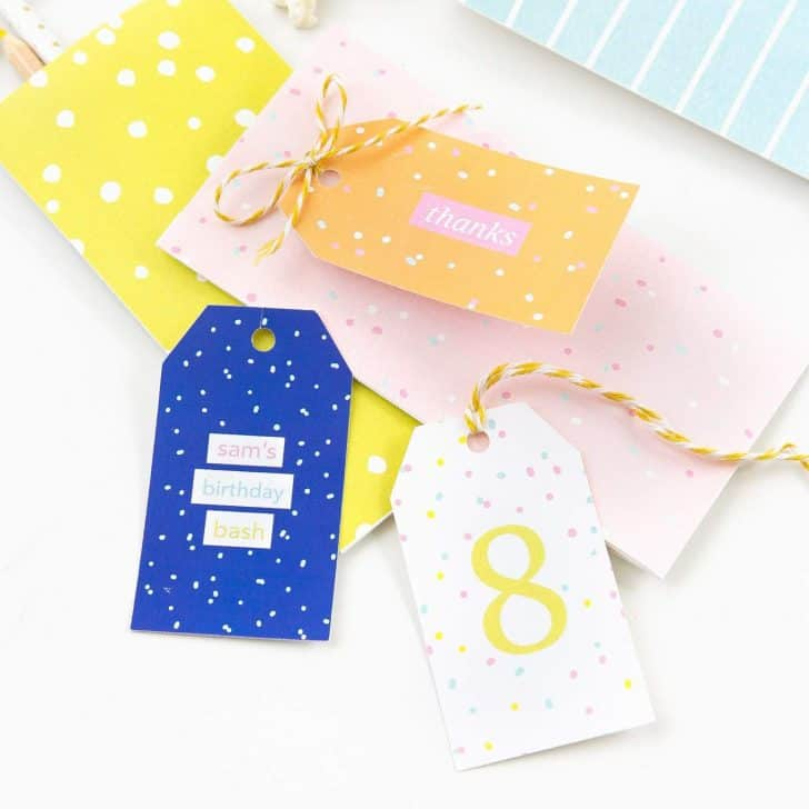 Colorful Printable Birthday Gift Tags