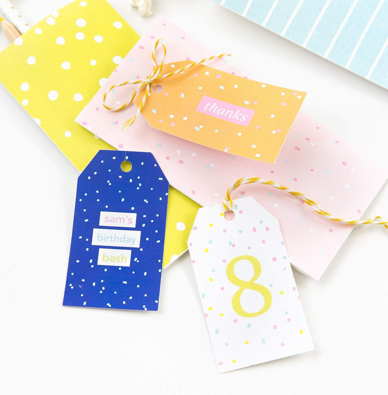 image relating to Birthday Tag Printable called Vibrant Printable Birthday Reward Tags - Style and design Try to eat Repeat