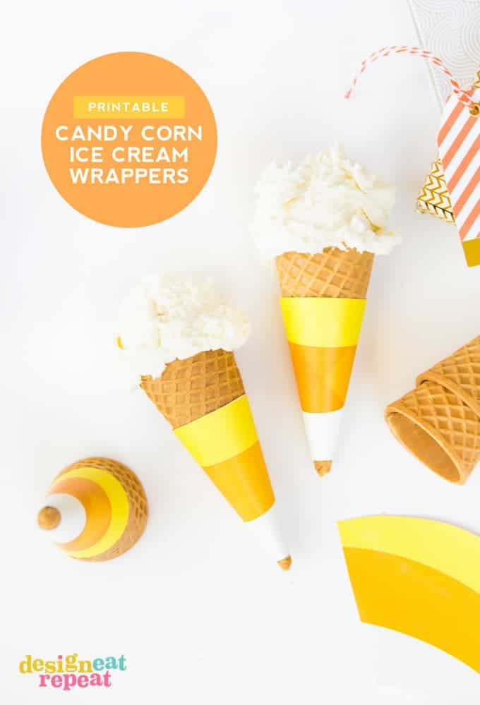 Free printable CANDY CORN ice cream cone wrappers!