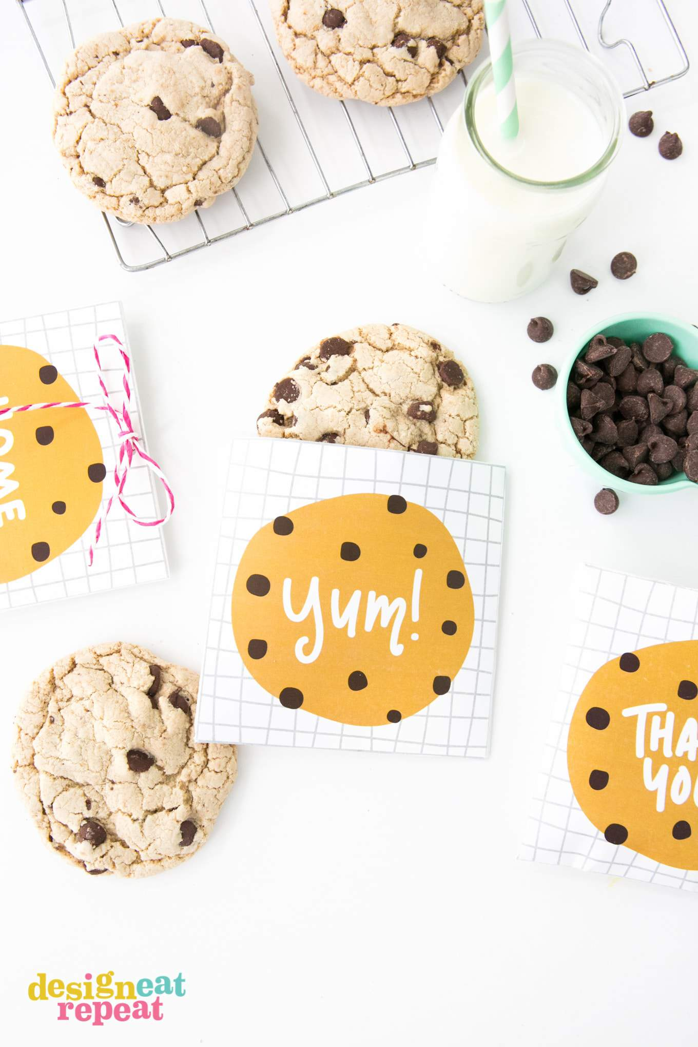"Chocolate chip cookie bag with ""yum"" written on top."