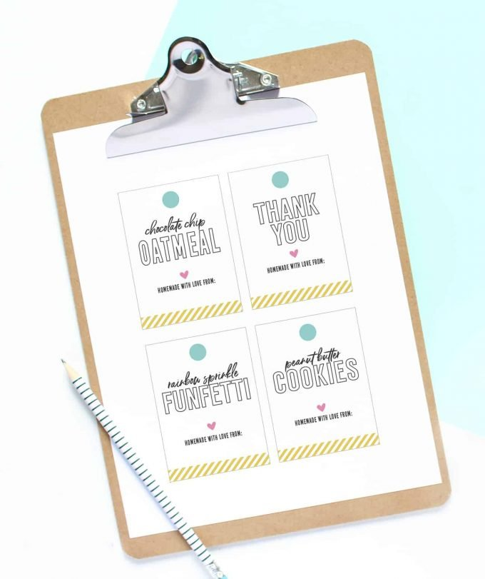 Clipboard of colorful printable cookie gift tag