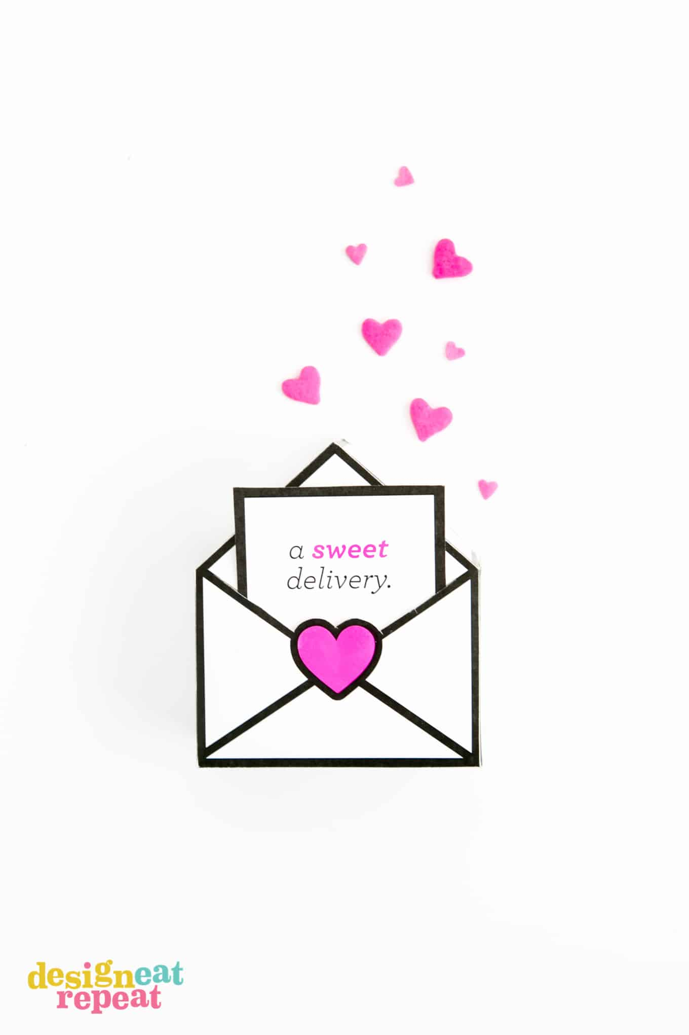 Printable Valentines gift boxes that are designed like envelopes with a sweet delivery notecard filled with Starburst.