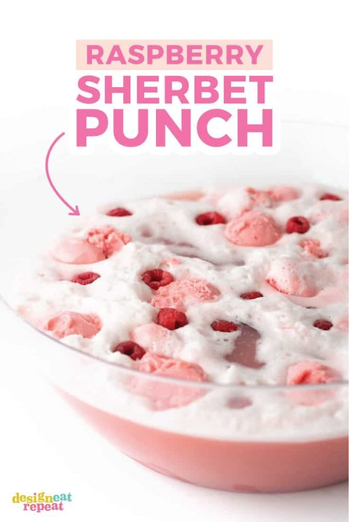 punch bowl of raspberry sherbet punch