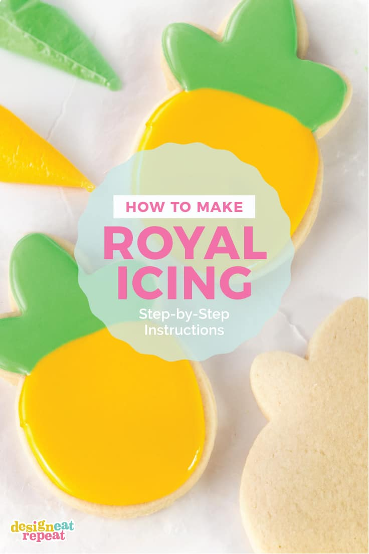 Decorate cut out sugar cookies with this smooth, hard-drying royal icing! This recipe uses 5 simple ingredients including meringue powder, which eliminates the need to use raw egg whites and helps the icing dry quickly (making them able to be packaged or stacked!). This easy royal icing can be customized to any color, making it perfect for decorating Christmas cookies, birthday cookies, or occasion cookie gifts.