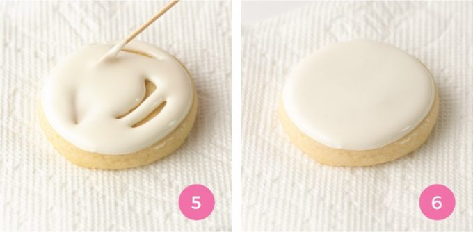 How to smooth Royal Icing for Sugar Cookies with toothpick