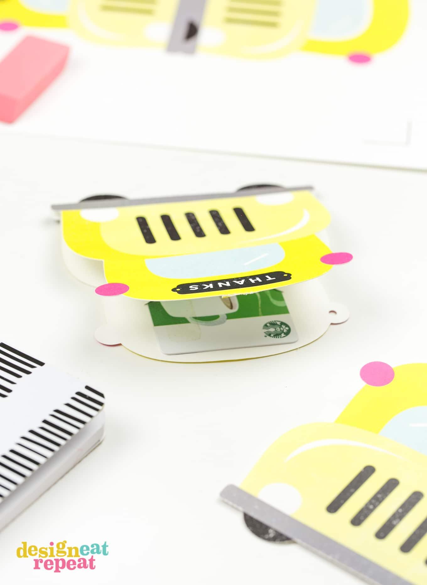 Yellow school bus printable teacher gift card holder with starbucks gift card.