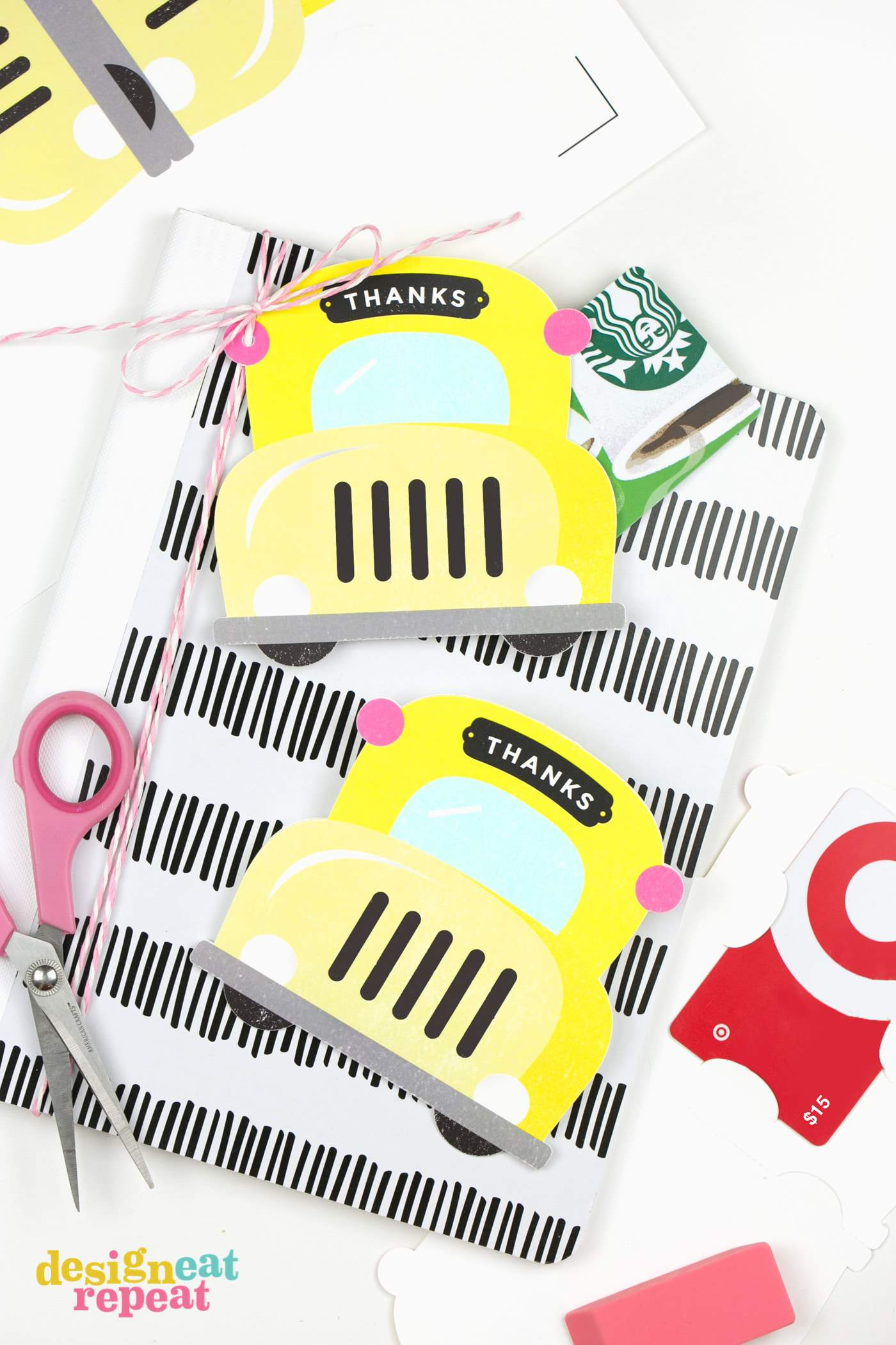 Yellow school bus printable teacher gift card holder with starbucks gift card.