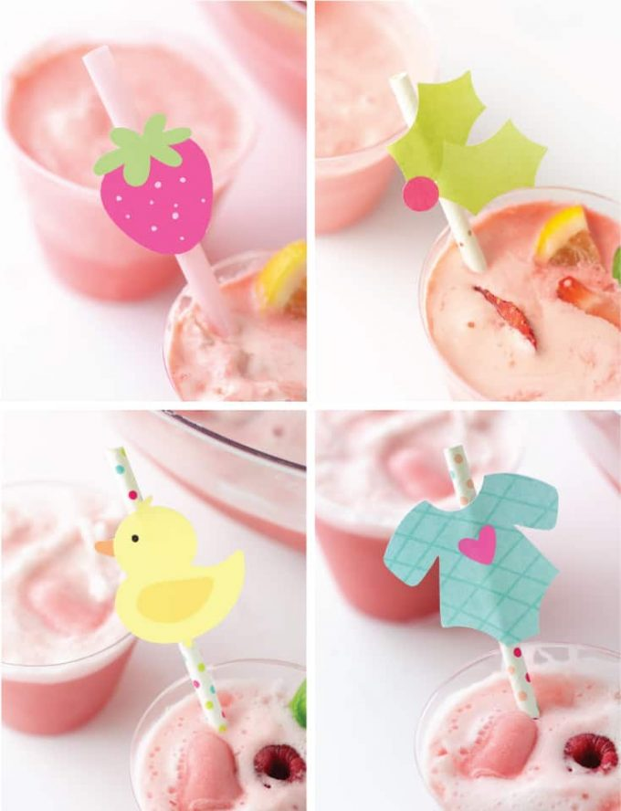 Printable Straw Toppers - strawberry, holly leaf, rubber duck, baby onesie