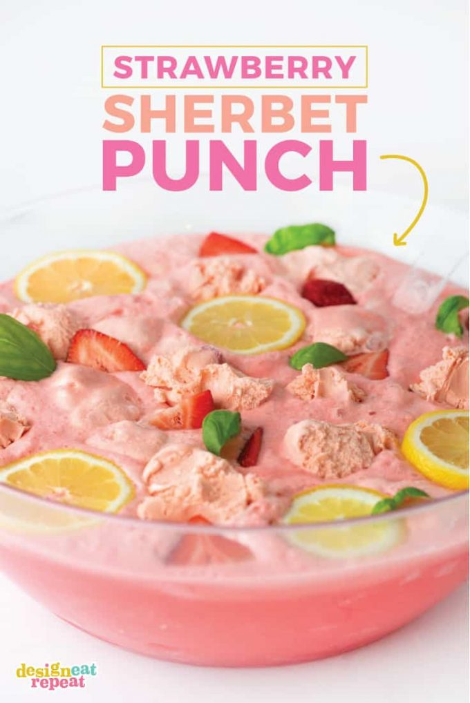 Pink Strawberry Sherbet Punch