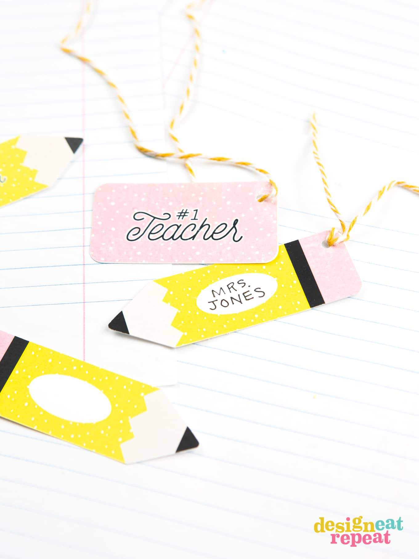 Pencil and eraser paper gift tags