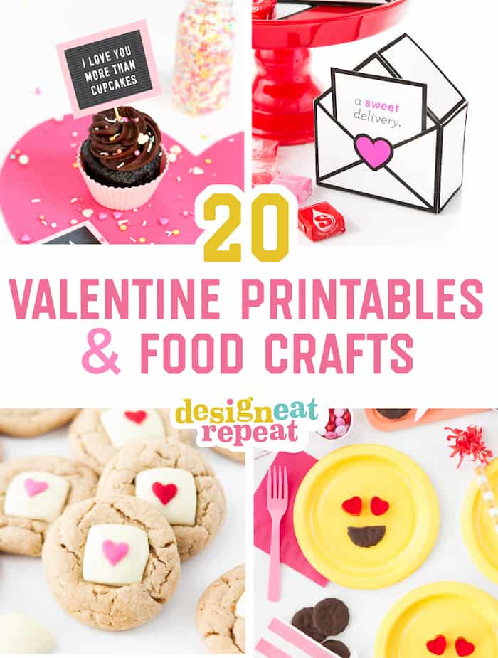 graphic regarding Printables Food named 20 Very simple Valentine Printables Food items Crafts