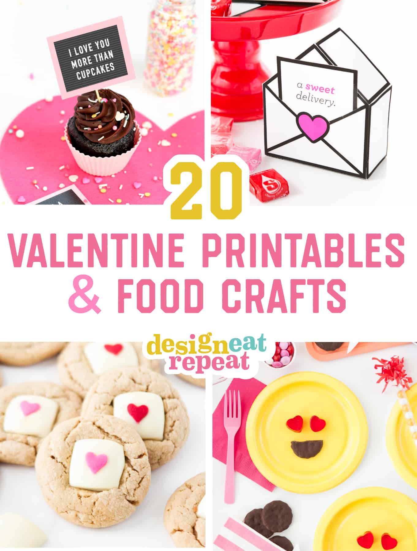 20 Easy Valentine Printables & Food Crafts