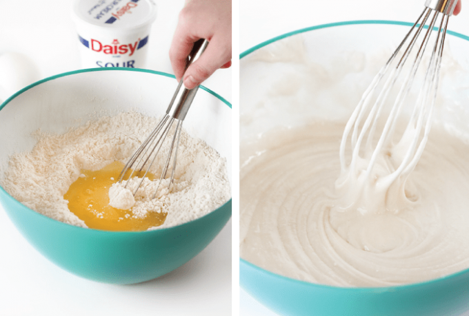 Mixing white cake mix with whisk until smooth
