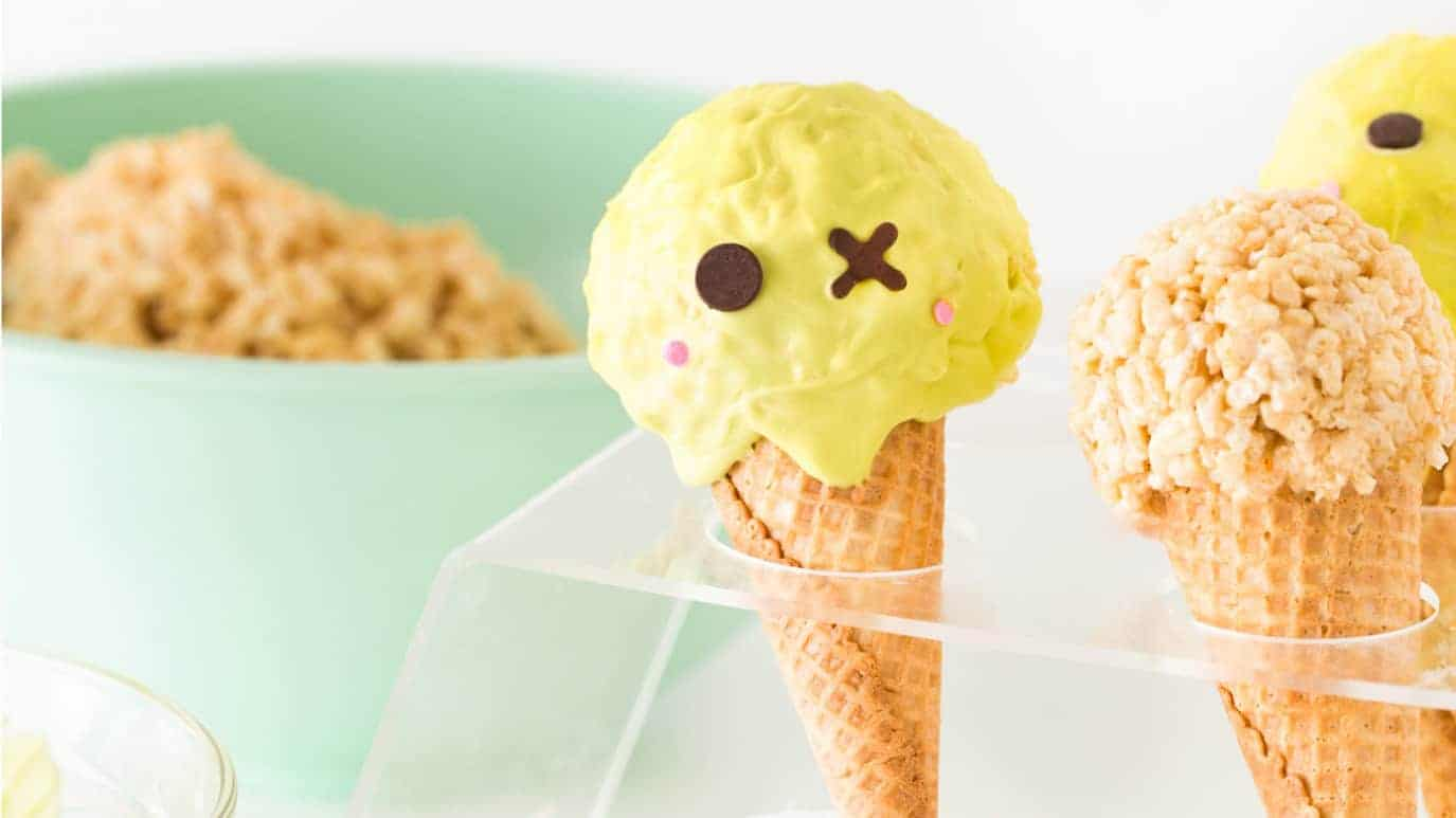 Cute Zombie Halloween Rice Krispie Treats in plastic ice cream cone holder.